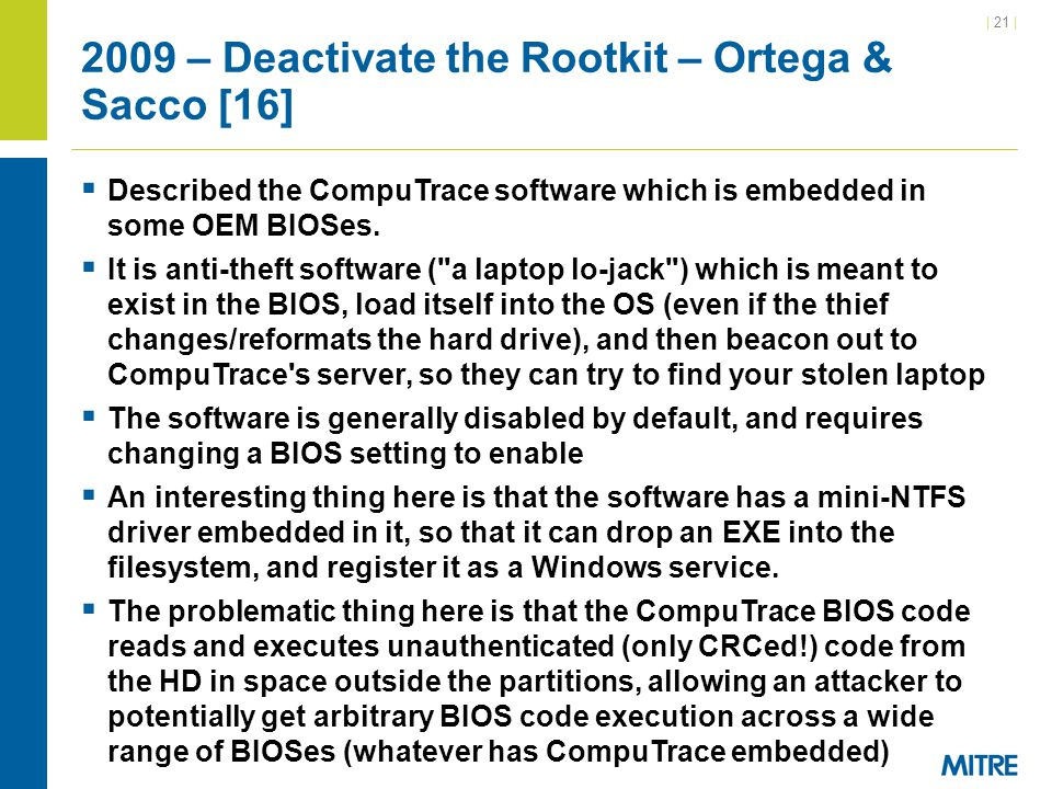 2009 – Deactivate the Rootkit – Ortega & Sacco [16]